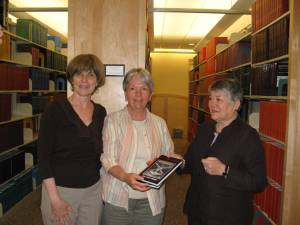 Dr. Gale Golden (far right) with Interlibrary Loan Associate, Marie McGarry (middle) and Library Director, Marianne Burke (far left)