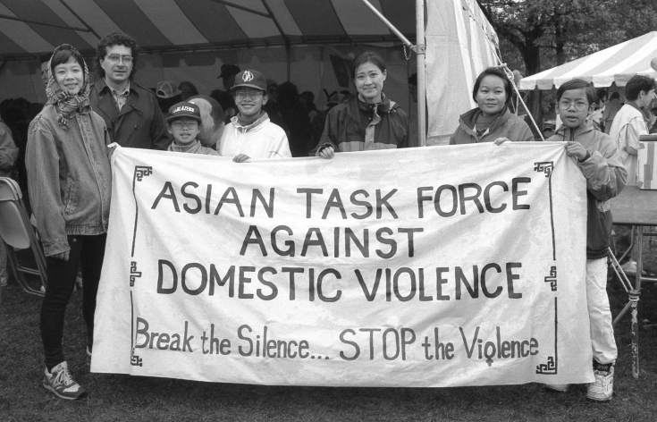 Asian Task Force Against Domestic Violence at the Jane Doe Walk for Women's Safety at the Hatch Shell on the Esplanade Boston MA October 25, 1992